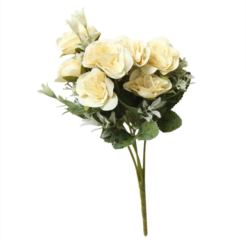 造花 8本 人工牡丹 シルクフラワーブーケ ブライダル アジサイ ホームパーティー ウェディング装飾 花飾り B07G96NXVS ベージュ