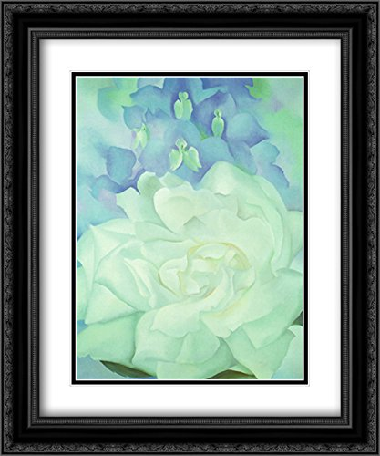 White Rose with Larkspur No. 2, 1927 2X Matted 18x15 Black Ornate Framed Art Print by Georgia O