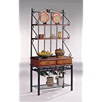 Coaster Brown/Sandy Black Finish Metal & Wood Bakers Kitchen Rack w/Drawers