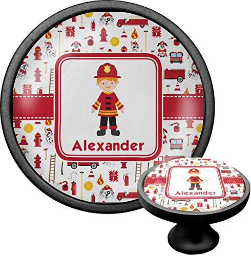 Firefighter for Kids Cabinet Knob (Black) (Personalized)