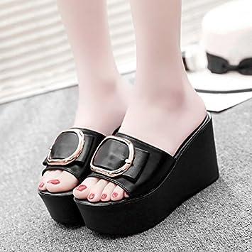 OME&QIUMEI Zapatillas Verano Niñas Vestidos De Negro Grueso Zapatos Niña 35