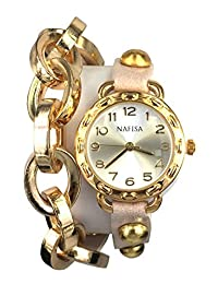 KTC Nafisa Women Round Dial Metal Chain/Leather with Rivet Double Wrap Leather Strap Wrist Watch NA-0026