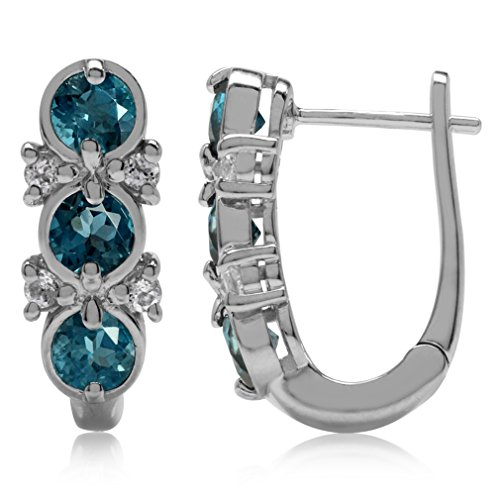 - 1.92ct 3-Stone Genuine London Blue Topaz White Gold Plated 925 Sterling Silver English Hook Earrings