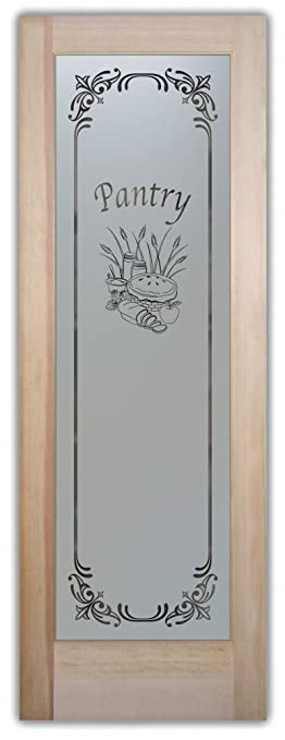Pantry Door   Sans Soucie Etched Glass Interior Door, Doug Fir, Apple Pie  Lenora