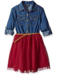 Zunie Big Girls' Denim Shirt Dress with Full Mesh Skirt and Belt