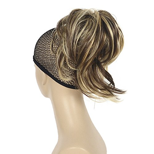 (Lydell Adjustable Messy Style Ponytail Hair Extension Synthetic Hairpiece with Jaw Claw Amzing Shape For You #AB461 Brown Highlighted)