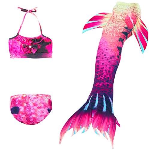 Das beste Girl's Swimsuit Mermaid Tail for Swimming,Colorful Swimmable Costume Cosplay Princess Swimwear Bikini Set Bathing Suit Set (No Monofin) -