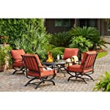 Redwood Valley 5-Piece Patio Seating Set with Steel Frame Fire Pit and Quarry Red Cushion Lounge Chair