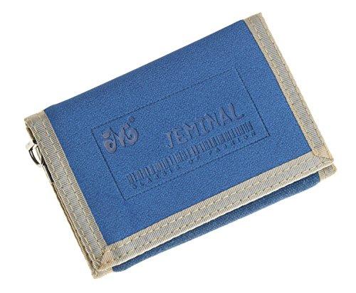 JEMINAL New Mens Blue Canvas Trifold Wallets Purse