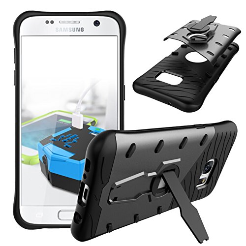 Price comparison product image Galaxy S7 Case, TOODAY Heavy Duty Shockproof Dual Layer Hybrid Armor Defender Full Body Protective Cover With 360 Degree Rotating Kickstand Design for Samsung Galaxy S7 (Black)