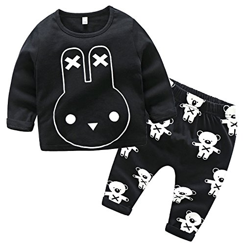 XIANGWU TEXTITLE Newborn Baby Boy 2PCS Cotton Long Sleeve Letters T-shirt+Cross Pants Outfit Autumn Winter Clothes (Cat, 95(24-30 Months)) (27 Letter Piece)