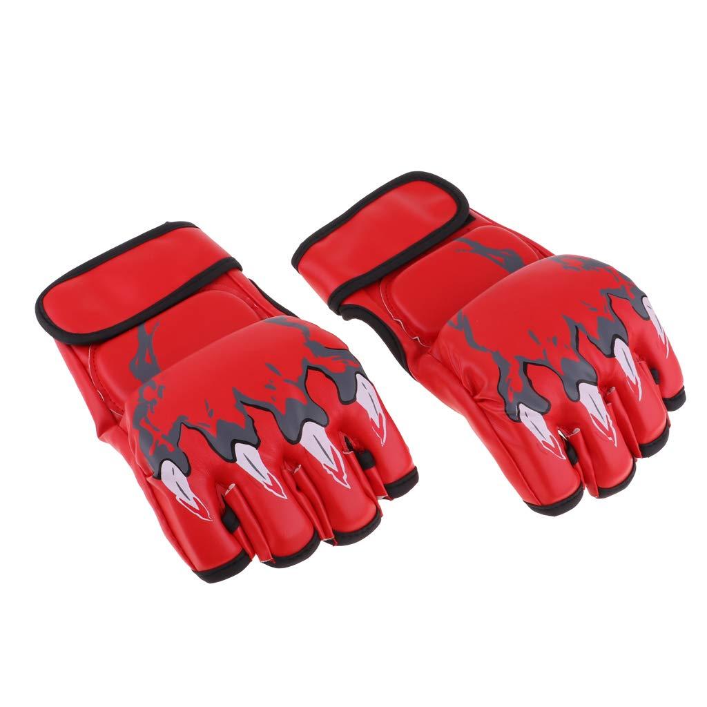 B Blesiya Halbfinger Boxhandschuhe Kampfsport Handschuhe Trainingshandschuhe Punchinghandschuhe aus PU-Leder