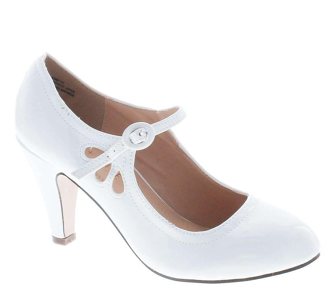 e12046d54bf7b Static Footwear Kimmy-21 Women's Round Toe Pierced Mid Heel Mary Jane Style  Dress Pumps,White Patent,5.5: Amazon.ca: Shoes & Handbags