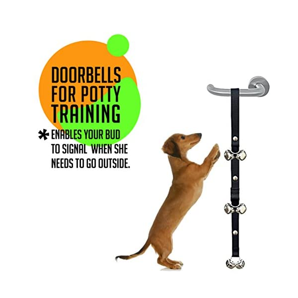 AMZpets Puppy Training Set 4 Pcs - Dog Clicker, Potty Doorbells for House Train, Treat Pouch W/Bag Dispenser & Bark Control Ultrasonic Whistle Essential Gift for New Pet Owners 4