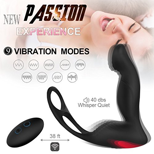 Meetyoo Male Prostate Vibe Sex Stimulor Massager with 9 Mode Viberate Anal Sex Toys Wireless Remote Control Silicon Vibrator for Men Butt Plug Prostate Vibe Massage by Meetyoo