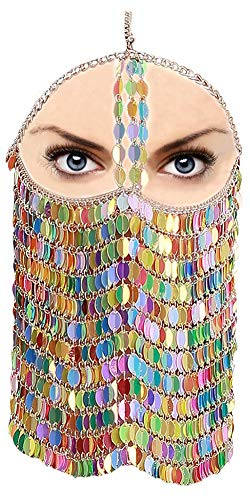 CCbodily Masquerade Mask Chain for Women - Venetian Halloween Mardi Gras Masquerade Mask Ball Face Chain Jewelry for Women Nightclub Party