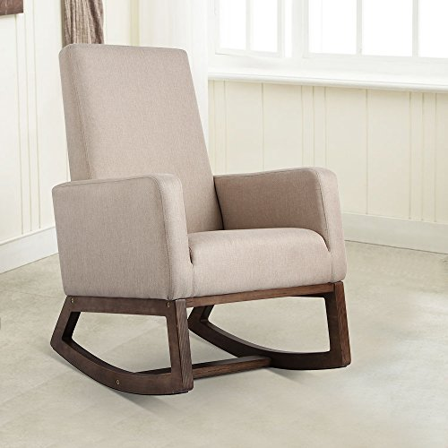 Esright Mid Century Fabric Upholstered Rocking Chair (Beige)