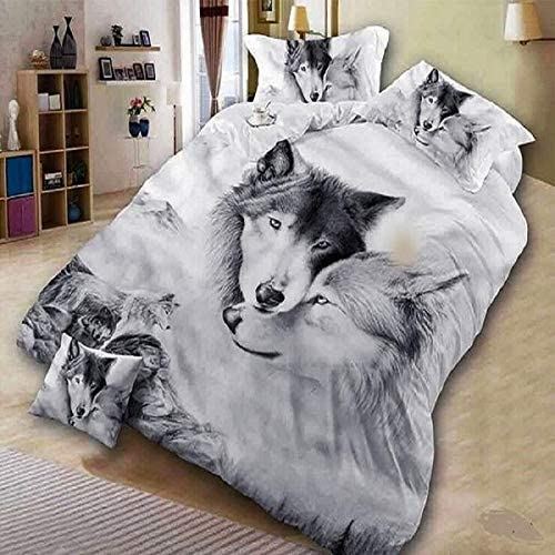 Sharper Glory 3 Pcs Soft Luxury Youth 100/% Polyester Shell Fully Reversible 3-Piece Modern 3D Wolf Print Duvet Cover Set Twin Size Full Size Queen Size King Size No Comforter Gray-Wolf King
