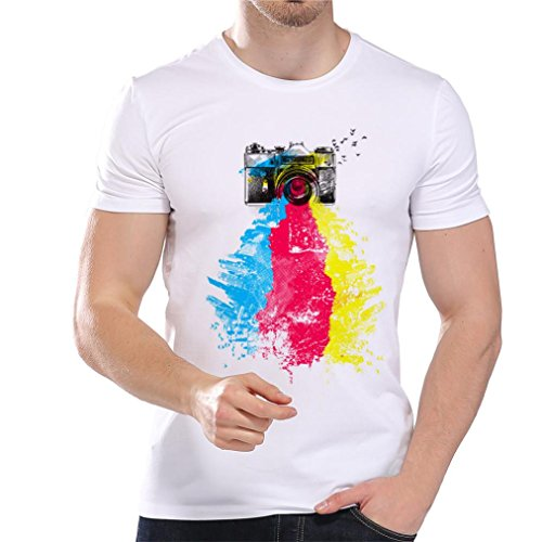 Realdo Men's Pure Color Short Sleeve Tee, Fashion Casual Crewneck Print Top Shirt (Red,X-Large) -