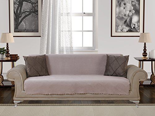 Chiara Rose Anti-Slip Armless 1-Piece Sofa Throw Slipcover for Dogs Pets Kids Non-Slip Furniture Cover Shield Protector Fitted 2 & 3 Cushion Couch Futon Sectional Recliner Seater Diamond Sofa - Suede Throw Chenille