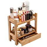 Gobam Makeup Organizer Holder Cosmetic Storage Bathroom Organizer Display Shelf with Drawer, Large Capacity, for Mom & Wife, Natural Bamboo