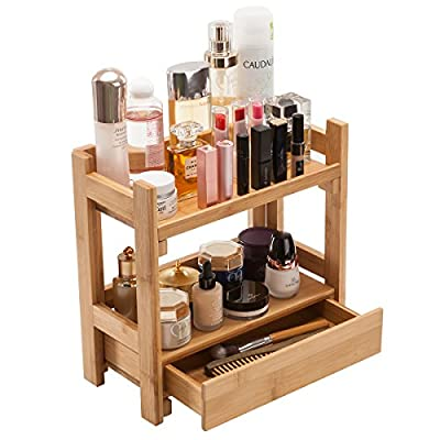 Gobam Makeup Organizer Holder Cosmetic Storage Bathroom Organizer Display Shelf with Drawer, Large Capacity, for Mom & Wife, Natural Bamboo - ★ HIGH QUALITY:Gobam makeup drawer organizer is made of 100% PREMIUM ORGANIC BAMBOO, the finest bamboo quality that follow four key components: strength, density, durability and eco-friendly.So is undoubtedly a long term investment to keep your expensive makeup safe. ★ LARGE CAPACITY: The storage organizer is divided into two layers and a drawer.Makeup, perfumes, lipsticks, blushes, eye shadows and brushes fit in one place- Drawer is perfect for storing watches and jewelry. It's a perfect gift for your lover and any makeup lovers. ★ NEAT&CONVENIENT - Keep makeup and accessories organized and easily accessible - Reduce clutter, save time getting ready, and gain space. - organizers, bathroom-accessories, bathroom - 51uWWg7RW9L. SS400  -