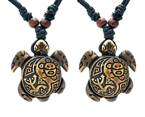 exoticdream Turtle Necklace Yin Yang Coqui Taino Sun with Cotton Cord (Brown 2X)
