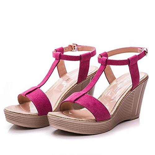 L@YC Damen Sommer Sandalen Leder Thick Bottom Wasserdichte Tisch Slope Mit Fisch Mund 897 Schuhe , pink , 39