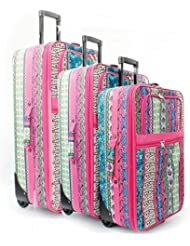Dallas Luggage Pink Bohemian Boho Patchwork 3 Piece Expandable Luggage Set