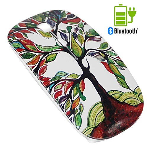 Quiet Rechargeable Bluetooth Mouse White - Tsmine Wireless Mouse Portable Optical Mouse Noiseless Mice for MacBook,Notebook,Laptop,PC,Tablet(Not for iPad and iPhone) - Lucky Tree