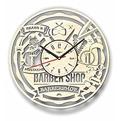 7Arts Wooden Clock Barber Shop - Decorative Wall Clock Made from Eco Wood with Silent Quartz Movement and Autonomous Power Source - Can be Painted, Great Gift Idea