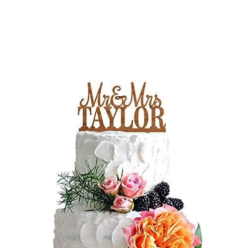 P Lab Personalized Cake Topper Mr. Mrs. Last Name Custom Wedding Cake Topper Rustic Wood Decoration Keepsake Engagement Favors for Special Event Cherry Wood by Personalization Lab (Image #3)