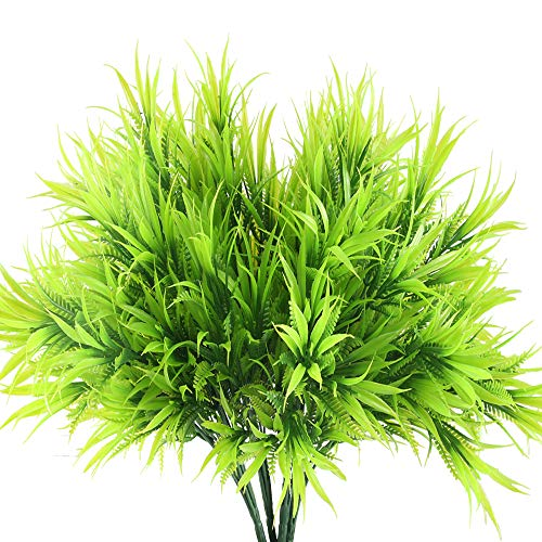 HO2NLE Outdoor Fake Plants, 4PCS Artificial Greenery Plants Plastic Grass Shrub Bushes for Home Kitchen Living Room Dining Table Centerpiece Arrangements Decorations -