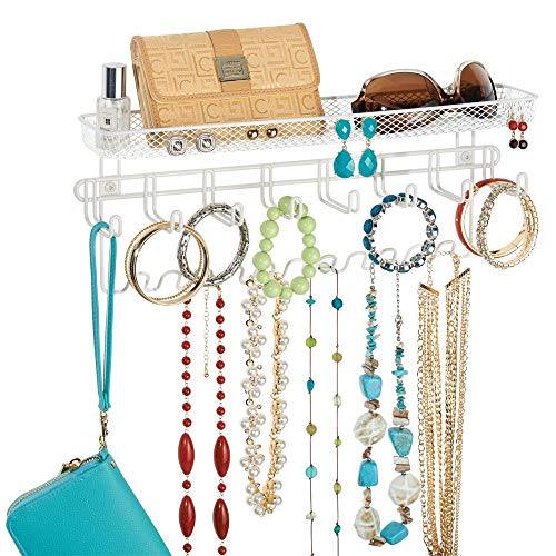 - mDesign Decorative Metal Closet Wall Mount Jewelry Accessory Organizer for Storage of Necklaces, Bracelets, Rings, Earrings, Sunglasses, Wallets - 8 Large /11 Small Hooks, 1 Basket - White