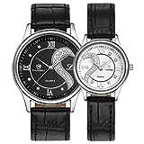 Yoyorule 1 Pair/2pc Tiannbu Ultrathin Leather Romantic Fashion Couple Wrist Watches Black+White