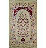 Modefa Islamic Prayer Mat Embroidered Chenille Turkish Janamaz Sajada Satin Floral