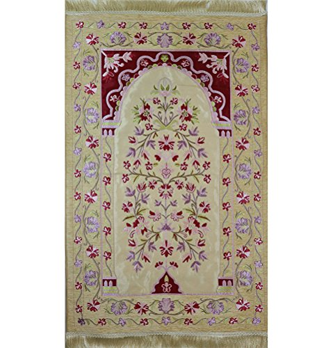 Modefa Islamic Prayer Mat Embroidered Chenille Turkish Janamaz Sajada Satin Floral by Modefa