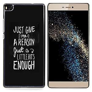 """For Huawei Ascend P8 (Not for P8 Lite) Case , Motivación Negro Blanco Texto Razón"""" - Diseño Patrón Teléfono Caso Cubierta Case Bumper Duro Protección Case Cover Funda"""