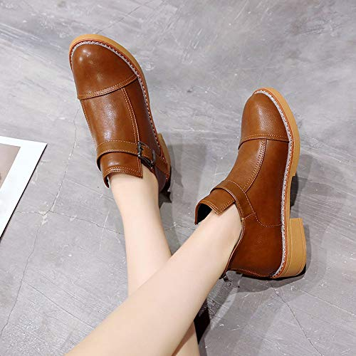6 Size Buckle Brown Sneakers Strap Short Winter 5 Toe Fashion Low Shoes Flats Boots BaZhaHei Thick Classic 5 Women Women Bottom 2 Boots Boots Martin Round Boots pqSFZn1w