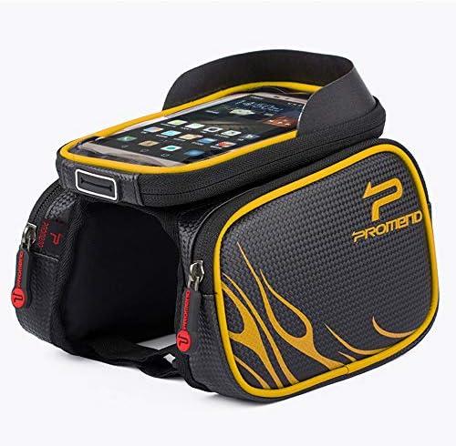 1L自転車フロントフレームポケット、自転車携帯電話ポケット、防水、ダブルジッパー、TPUタッチスクリーン(6.2インチ)