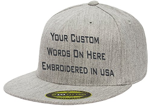 Custom Flexfit 210. Personalized Hat. Embroidered. Your Text.Fitted Flat Bill (Heather Gray, 6 7/8-7 1/4 - Cap Fitted Hat Custom