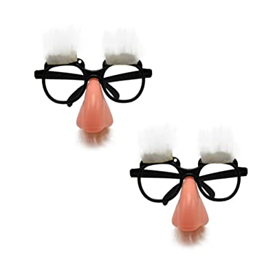 Amosfun 2pcs Party Eyeglasses Funny Eyeglasses Halloween Party Glasses Big Funny Fake Nose Eyebrow Eyewear Funny Party Eyeglass Cosplay Party Dress up Props: Toys & Games