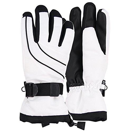 Urban Boundaries Womens Warm Winter Waterproof Thinsulate Snow Gloves (White/Black, Small/Medium)