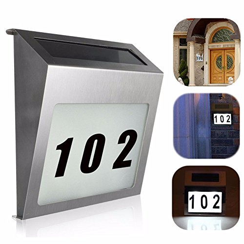 [LED House Number Signs,Solar Powered House Number Plaque with Stainless Steel Material and Heavy Duty Waterproof Grade] (Large Lighted Address Plaque)