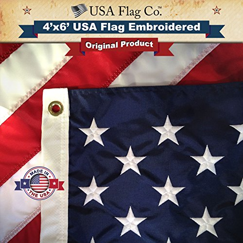 US Flag 4x6 by USA Flag Co. is 100% American Made: The BEST Embroidered Stars and Sewn Stripes American Flags, Made in the USA, with Amazon A to Z Guarantee. ()
