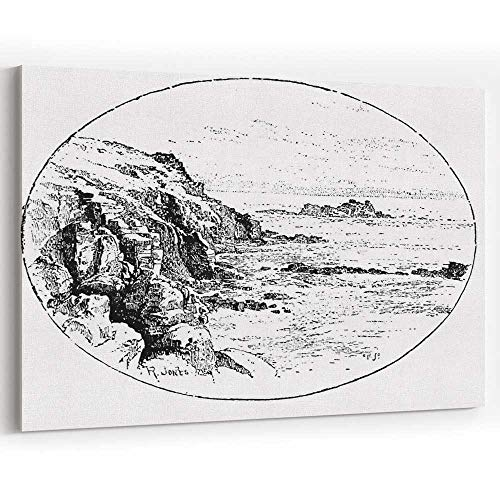 19th Century Engraving of The Cliffs at Lands End in Cornwall Canvas Prints Wall Art,Home Decor