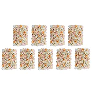 Fenteer 9-Pack Romantic Artificial Flower Wall Panels Floral Decor for Wedding Venue Decor Home Decor Champagne 14