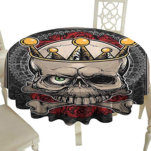 Checkered Round Tablecloth 54 Inch Gothic,Skull with Crown Roses Bones Dead King Halloween Illustration Art,Tan Marigold Dark Grey Red Great for,restauran & More