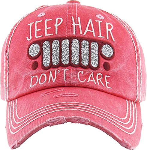 H-212-JHDC52 Distressed Vintage Baseball Cap: Jeep Hair Don't Care, Coral