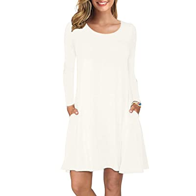 AUSELILY Women's Long Sleeve Pockets Casual Swing T-Shirt Dresses at Women's Clothing store